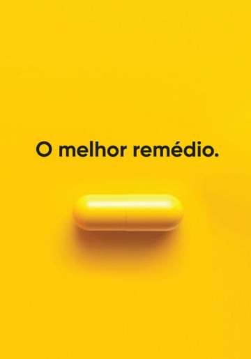 Imagem de cápsula amarela com título O melhor remédio.