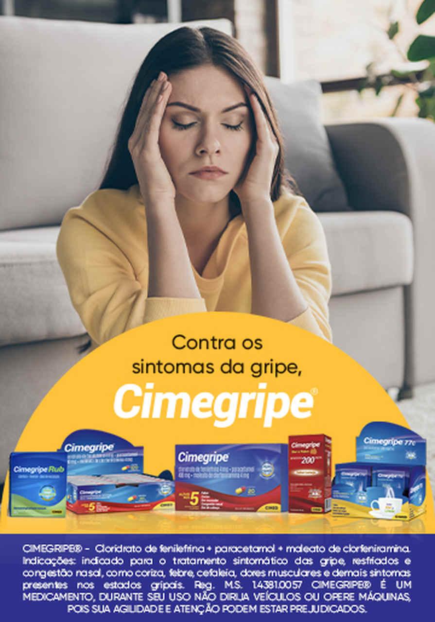 Imagem de moça com a mão na cabeça na propaganda da Cimegripe
