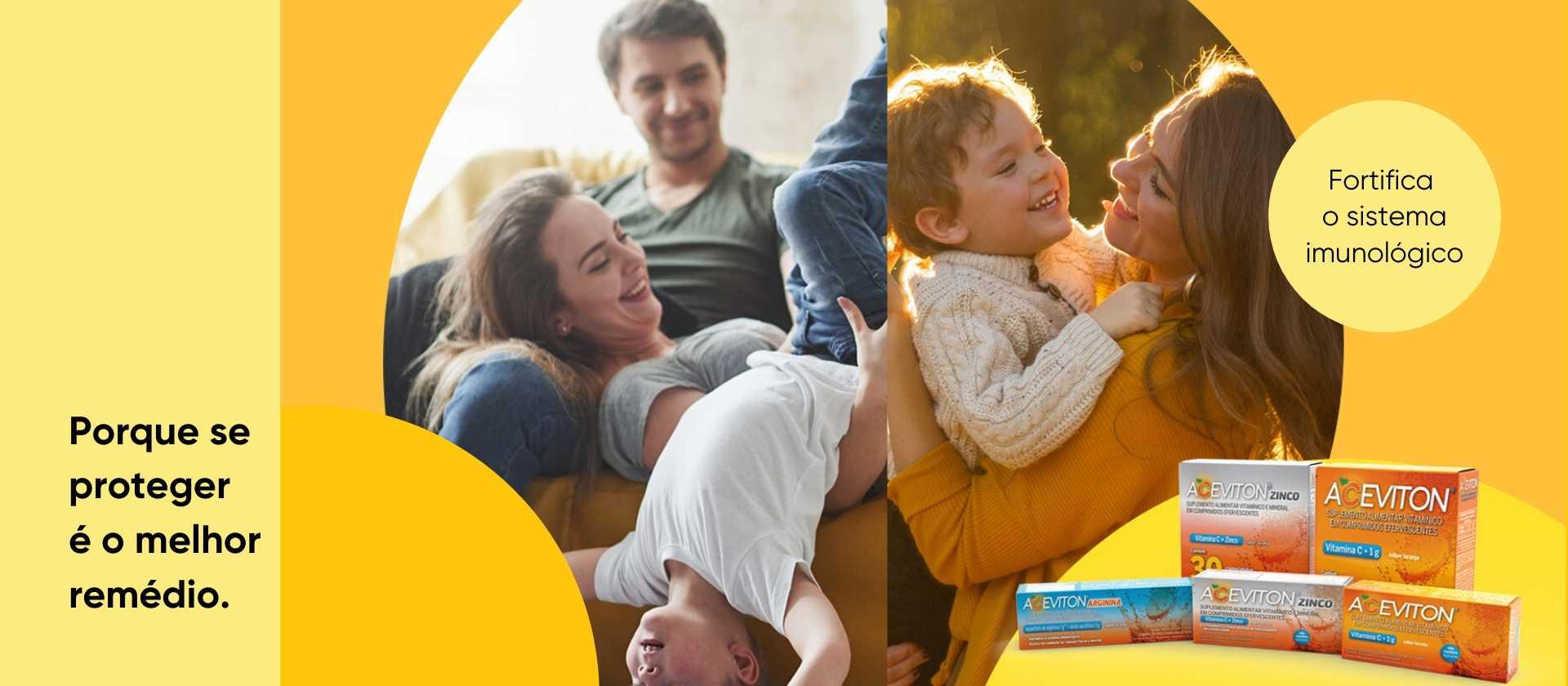 Imagem de pai, mãe e filho na propaganda do Aceviton