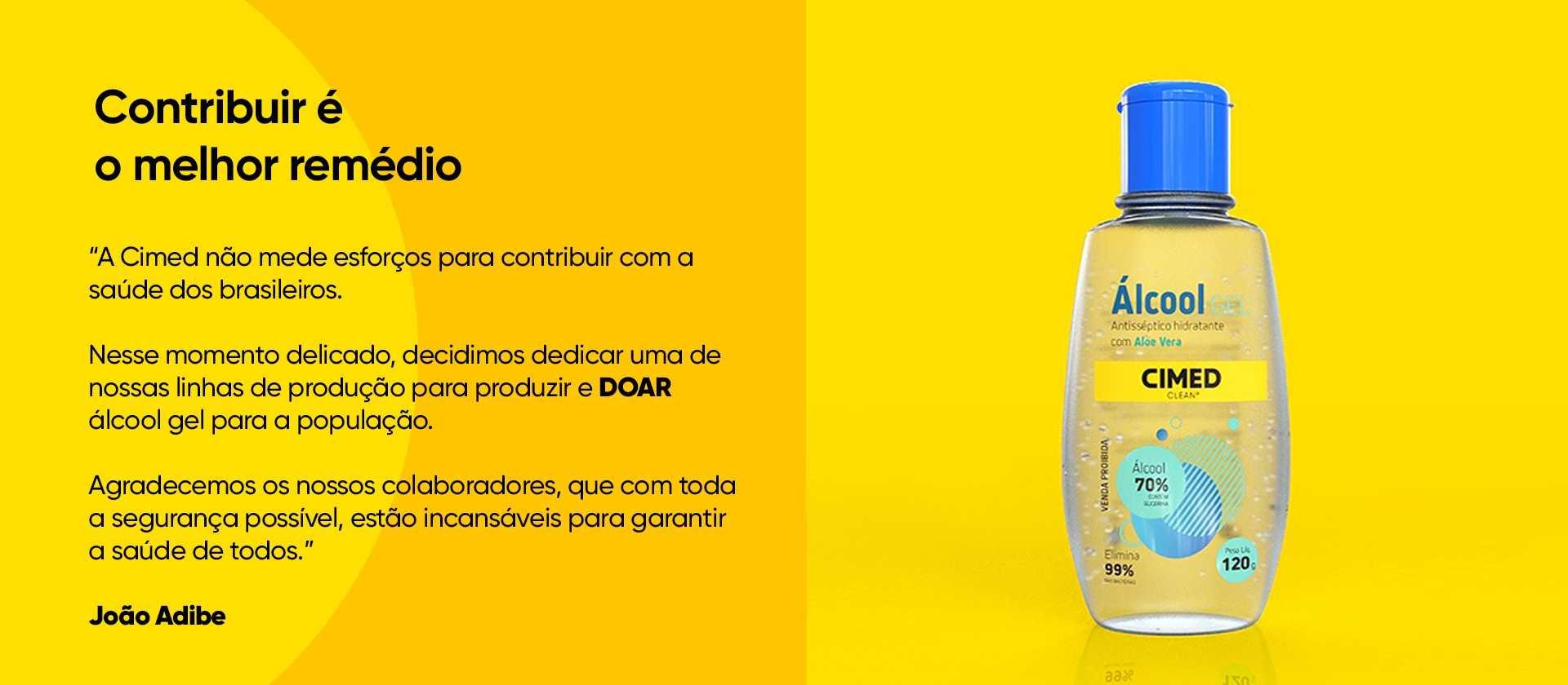 Imagem de destaque sobre a ajuda da Cimed em relação à doação de álcool gel para a população