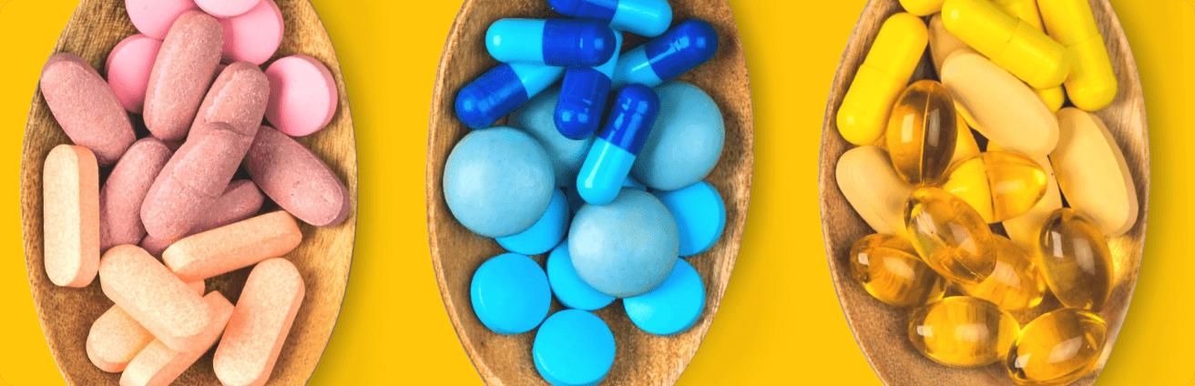 Imagem de comprimidos diversos coloridos