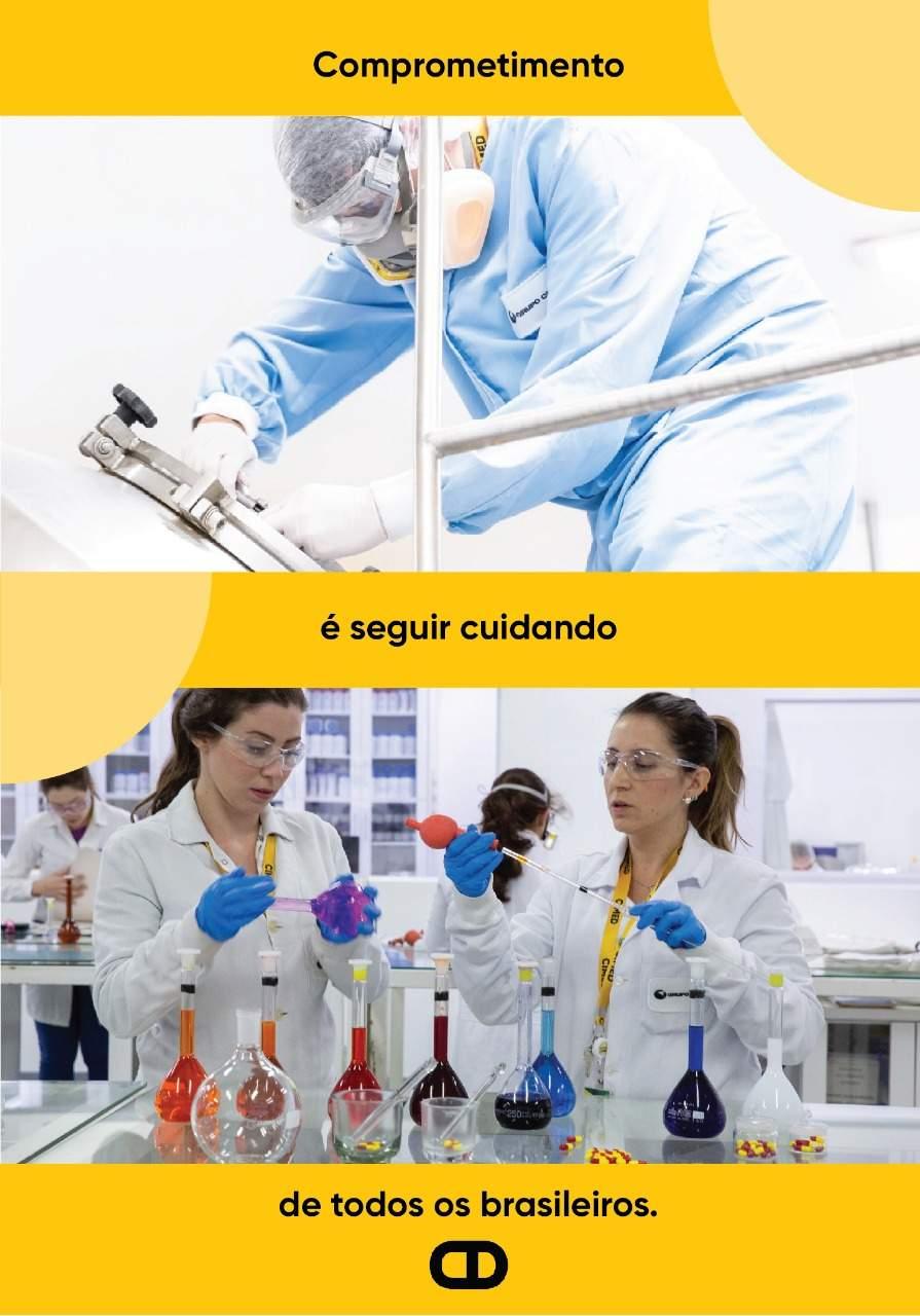 Imagem destaque pessoas trabalhando na fábrica e laboratório da Cimed