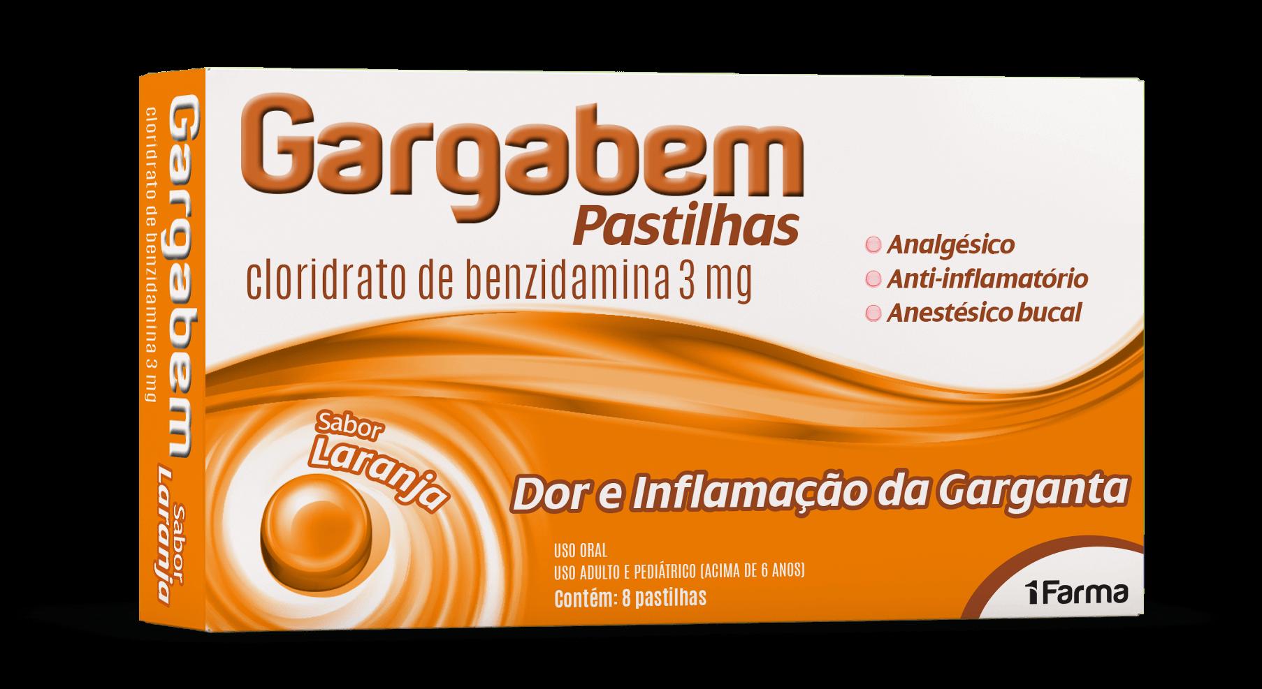 Imagem da embalagem do Gargabem Pastilhas Laranja.